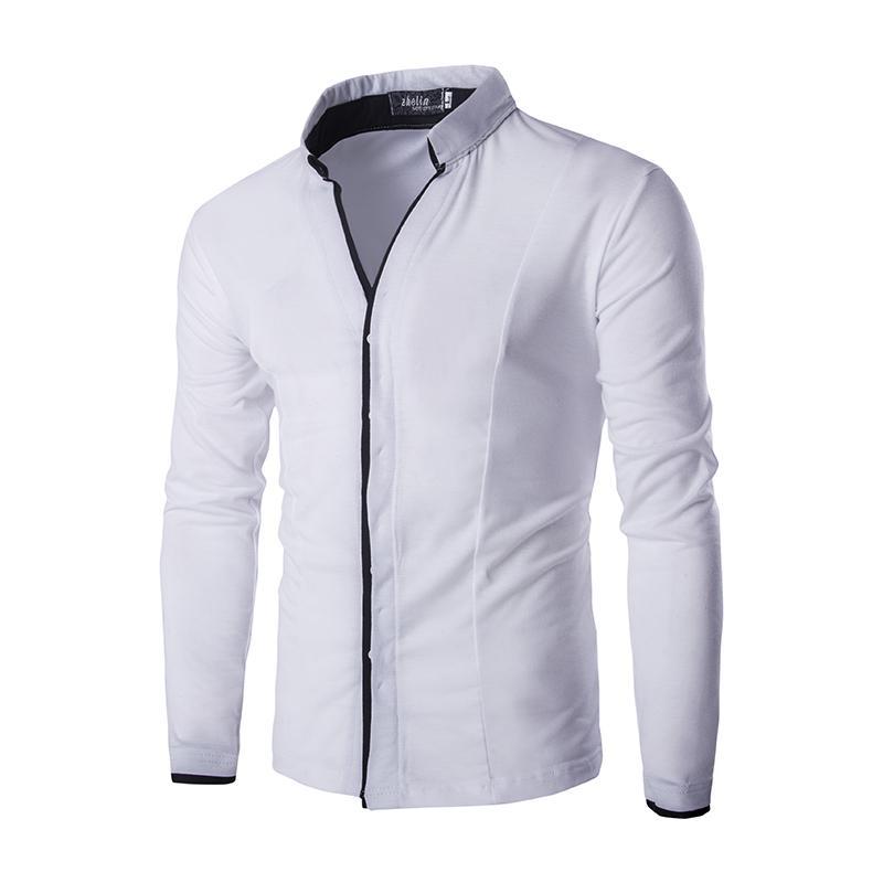 fe1da5c874 Compre Al Por Mayor Camisa Blanca Clásica Para Hombres Camisas De Vestir Para  Hombres De Estilo Coreano De Manga Larga Solid Stand Collar Casual Hombres  ...