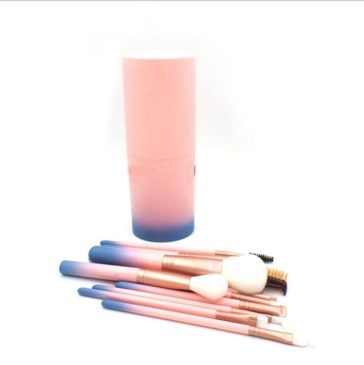 Makyaj Fırça 12 adet Pro degrade Göz farı fırçalar Fırça kova ile Çok fonksiyonlu BB Krem Yüzücü Eyeline Kozmetik aracı