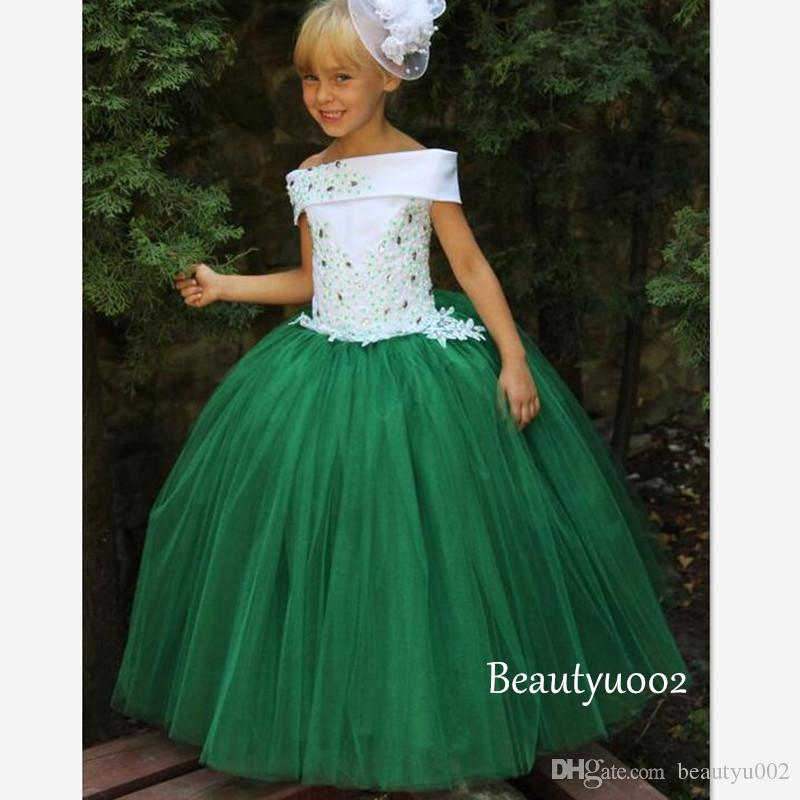 Little Kids Girls Pageant Dresses White Top Green Skirt Appliques ...