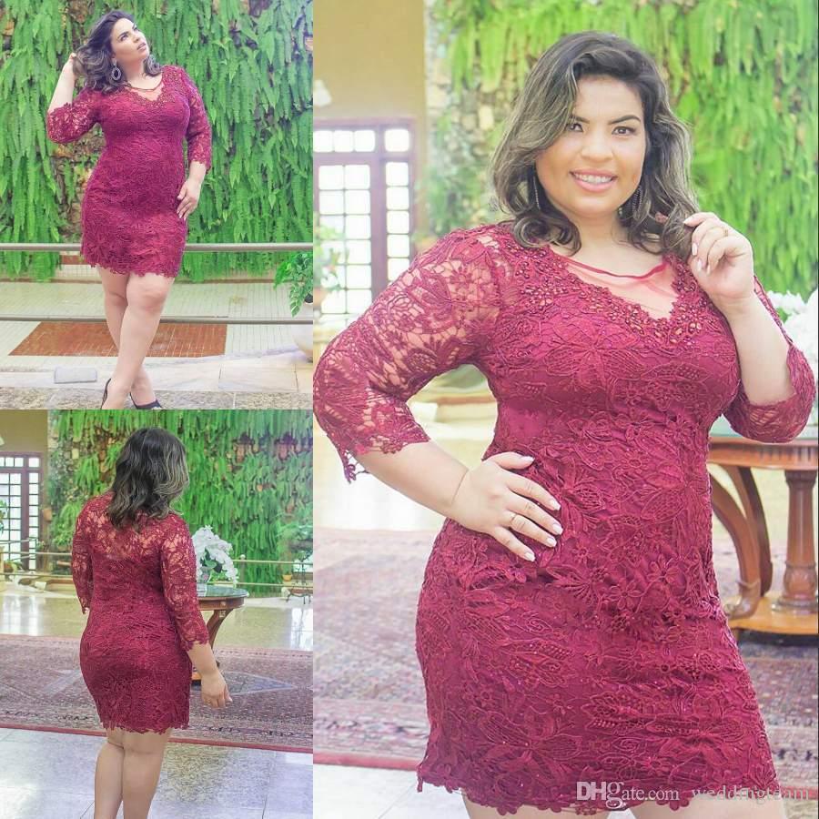 Compre Stunning Burgundy Más Tamaño Corto Prom Dresses Sheer Jewel ...