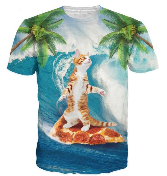 3c03f9165 Wholesale Newest Fashion Mens/Womans Hilarious Cat Surfing On Pizza Summer  Style Tees 3D Print Casual T Shirt Tops Plus Size Buy Tee Shirts Great Tee  Shirts ...