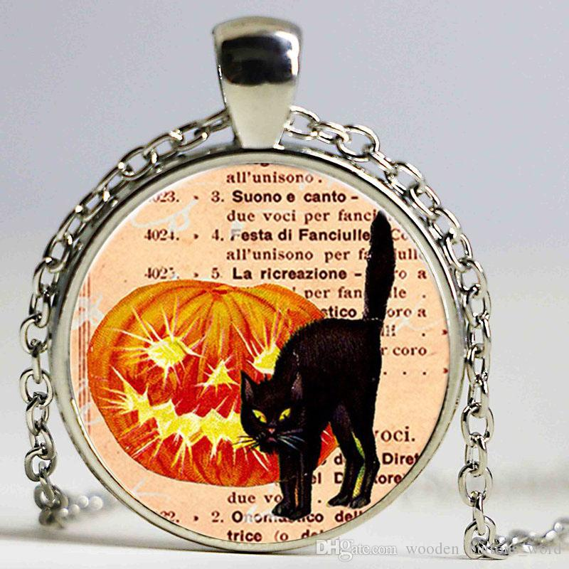 wholesale vintage halloween jewelry women black cat necklace sweater chain chokers necklace men sailor moon pendant necklace women silver pendants silver