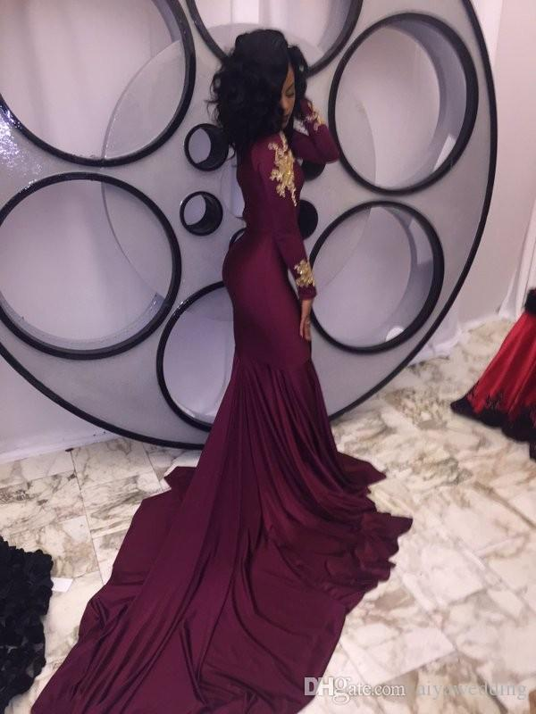 Long Sleeve Mermaid Burgundy Prom Dresses 2019 Satin Appliques Lace Beaded Special Occasion Dress Zipper-Up Court Train