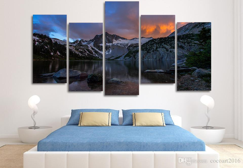Framed HD Printed Snow Mountain Lake Picture Wall Art Canvas Print Room Decor Poster Canvas Painting Wall