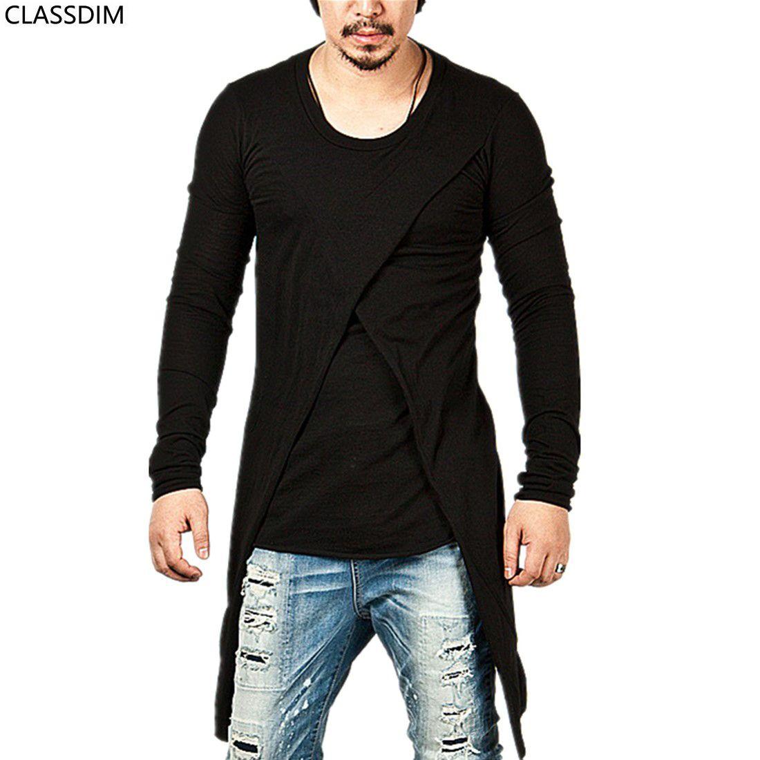 Men S Fashion Long Sleeved T Shirt Longer Section Men S Four Seasons Hip  Hop Street T Shirt Round Neck Pure Black T Shirt Size M 3XL Buy Cool Shirts  ... b453b057b8b