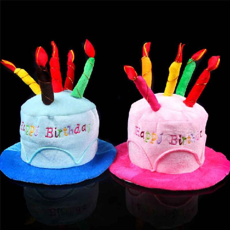Wholesale New Creative Plush Soft Happy Birthday Cake Hat With Candles Cap Adult Size Fancy Dress Party Event Supplies Cowboy