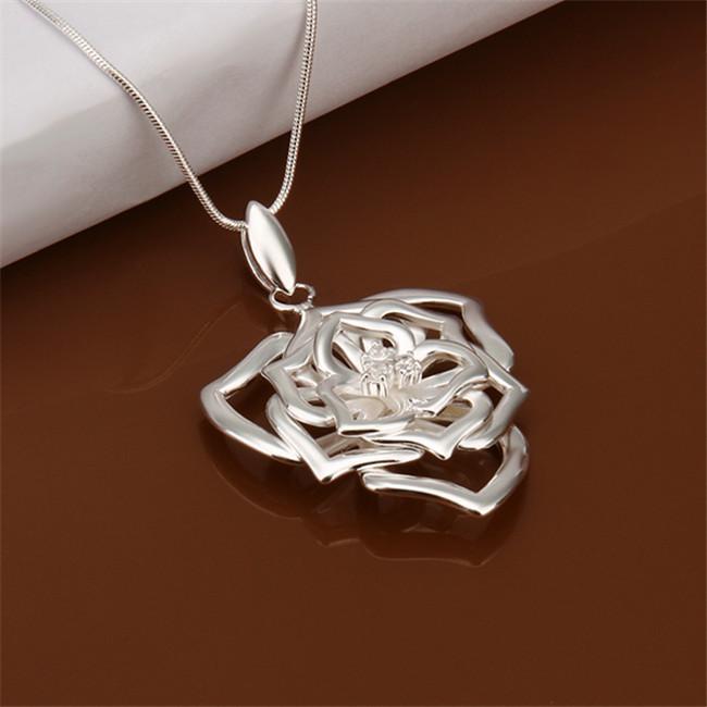 beste Geschenk Blue Diamond Flower Sterling Silber vergoldet Schmuck Halskette für Frauen WN554, schöne 925 Silber Anhänger Halsketten mit Kette