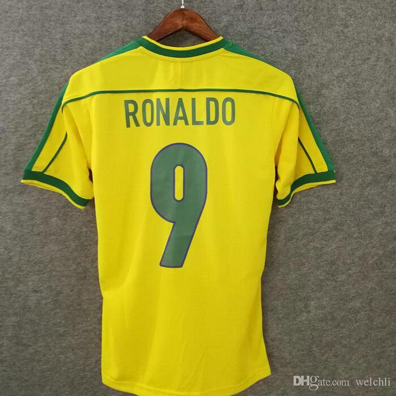 21d5997e9 Classic 1998 Brasil Retro Jerseys De Fútbol En Casa Nombre Personalizado  Número Ronaldo 9 Rivaldo 10 Brasil Camisetas De Fútbol AAA Ropa De Calidad  Del ...