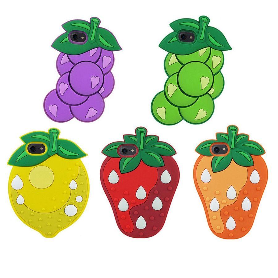 cool funny cartoon fruits lemon grape strawberry 3d rubber gel