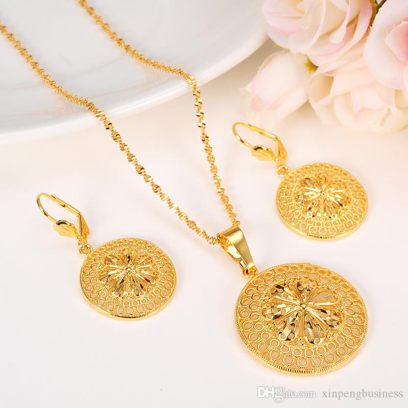 24k solide fin or rempli nouvelle fleur de la mode éthiopienne bijoux ensemble pendentif collier boucle d'oreille cercle conception