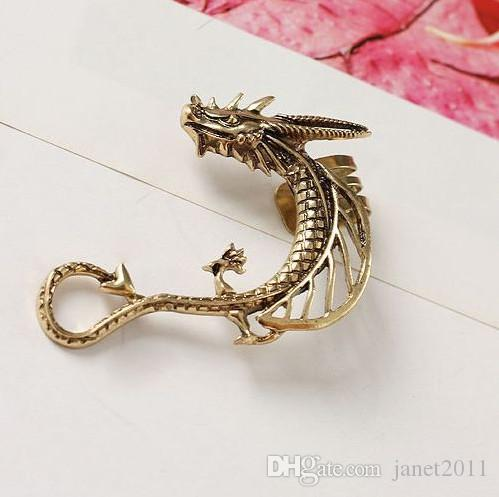 Estilo punky Dragón Ear Cuffs Gothic Antique Silver / Gold / Black No Piercing Ear Clips Joyería para mujer