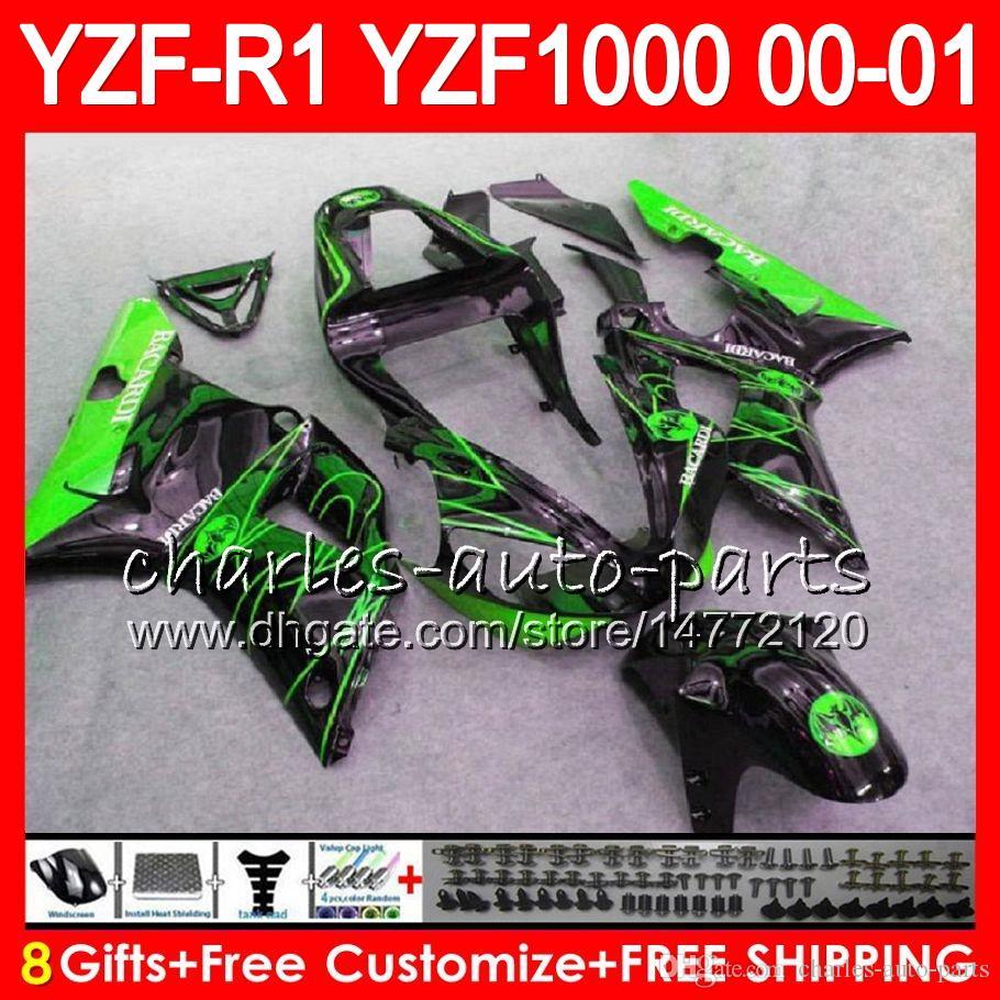 Bodywork For YAMAHA YZF1000 YZF 1000 YZFR1 00 01 98 99 74NO33 Green CORONA R 1 YZF-R1000 Body YZF-R1 YZF R1 2000 2001 1998 1999 Fairing Kit