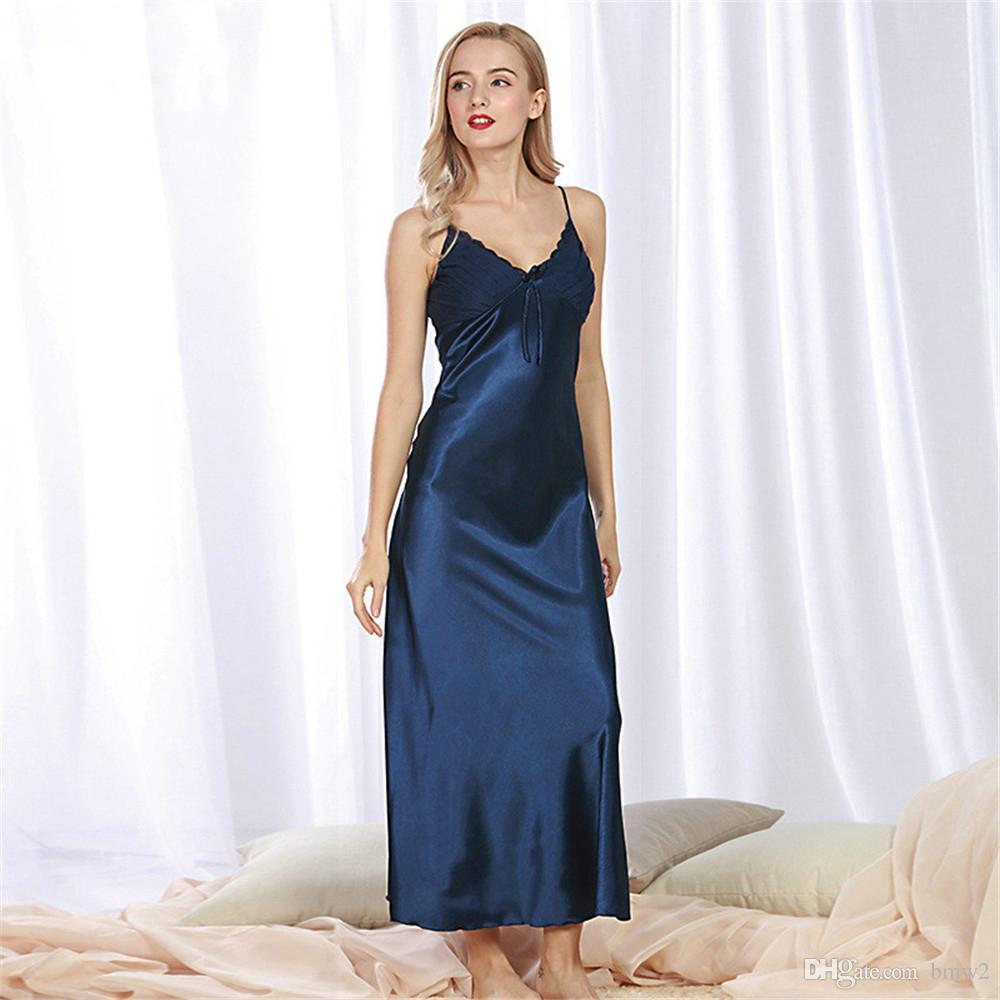 reputable site 64f9f a488b Damen-langes Satin-Nachthemd-Sleep-Frauen-Silk Nachthemd-Nachthemd Neues  langes Silk Sleepdress-Nachthemd für Frau