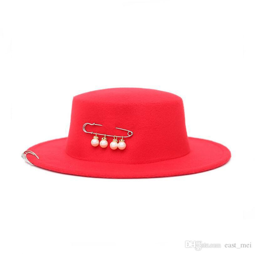 Yüksek kalite Yeni bakır halka büyük pin düz üst şapka sonbahar ve kış erkekler ve kadınlar inci İmitasyon yün şapka töreni kap EMB034