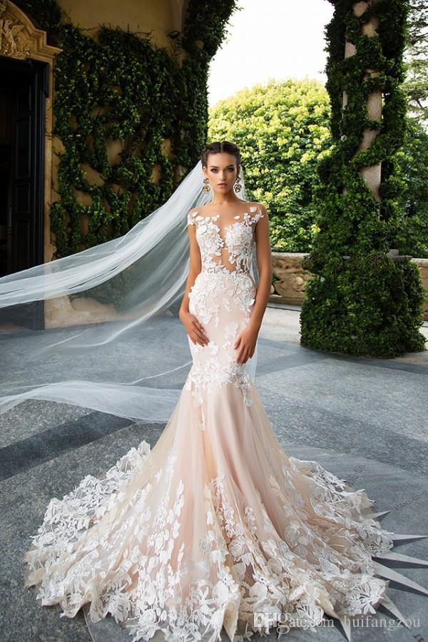 Vintage Millanova 2017 Sereia Vestidos de Casamento Sheer Neck Lace Appliques Vestidos De Casamento Varredura Comprimento Backless Vestido de Noiva