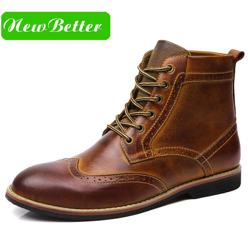 Wholesale Leather Pointed Toe Men Oxford Boots Lace Up Dress Martin Boots  Men Winter Shoes Brown Black Skechers Boots Mid Calf Boots From Beasy111 5b7fca376
