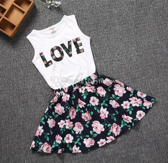 Baby Girls Clothes Sets Fashion Boutique Children flower painting dress sets Kids clothes children tees skirts cotton Outfits XZT017