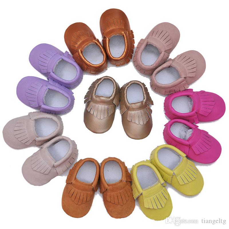 f9e2254bf39cc Baby Moccasins Genuine Leather Multi Pure Color Infant Shoes Soft Sole  Anti-slip Baby Prewalkers Baby First Walkers