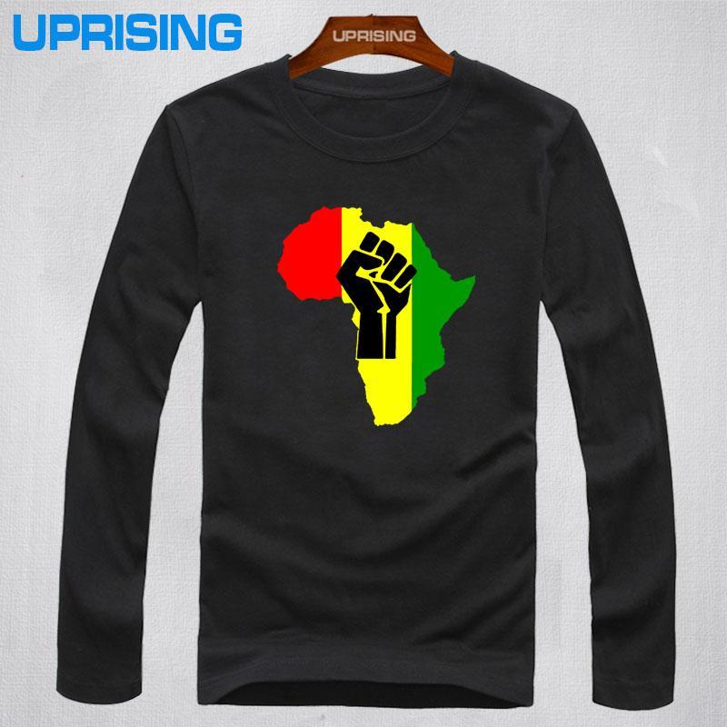 Wholesale- 2016 new fashion AFRICA Power Rasta Reggae Music Logo men s  t-shirt man Cotton Camisetas Print casual long sleeve t shirt