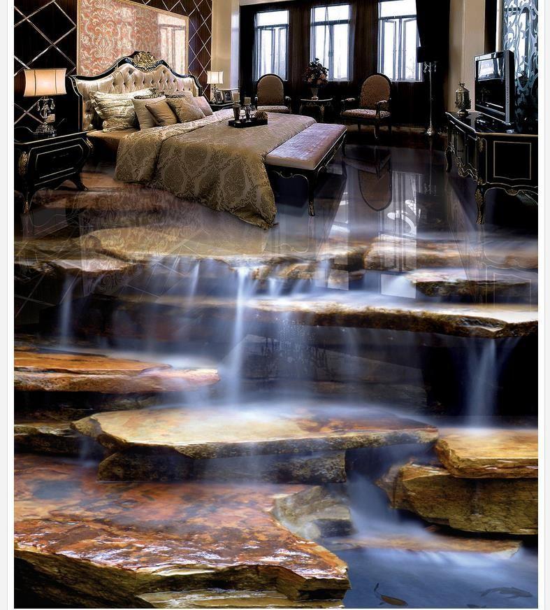 Grosshandel Wasserdichte Tapete Fur Badezimmerwand Schwimmende Wasserproduktion Wasserfall Wasserfall Wohnzimmer Badezimmer 3d Boden Von
