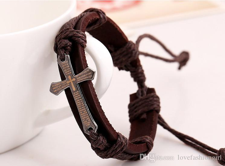 Bracelets Leather Vintage Fashion High Quality Unisex Alloy Cross Leather Rope Knitted Charm Bracelets Jewelry Wholesale BR458