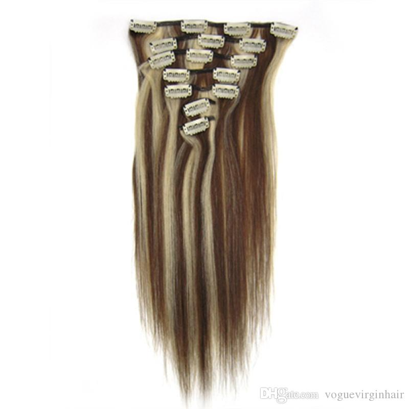#4 613 blonde mixed color Clip In Human Hair Extensions Real Human Hair Brazilian Hair Clip Ins
