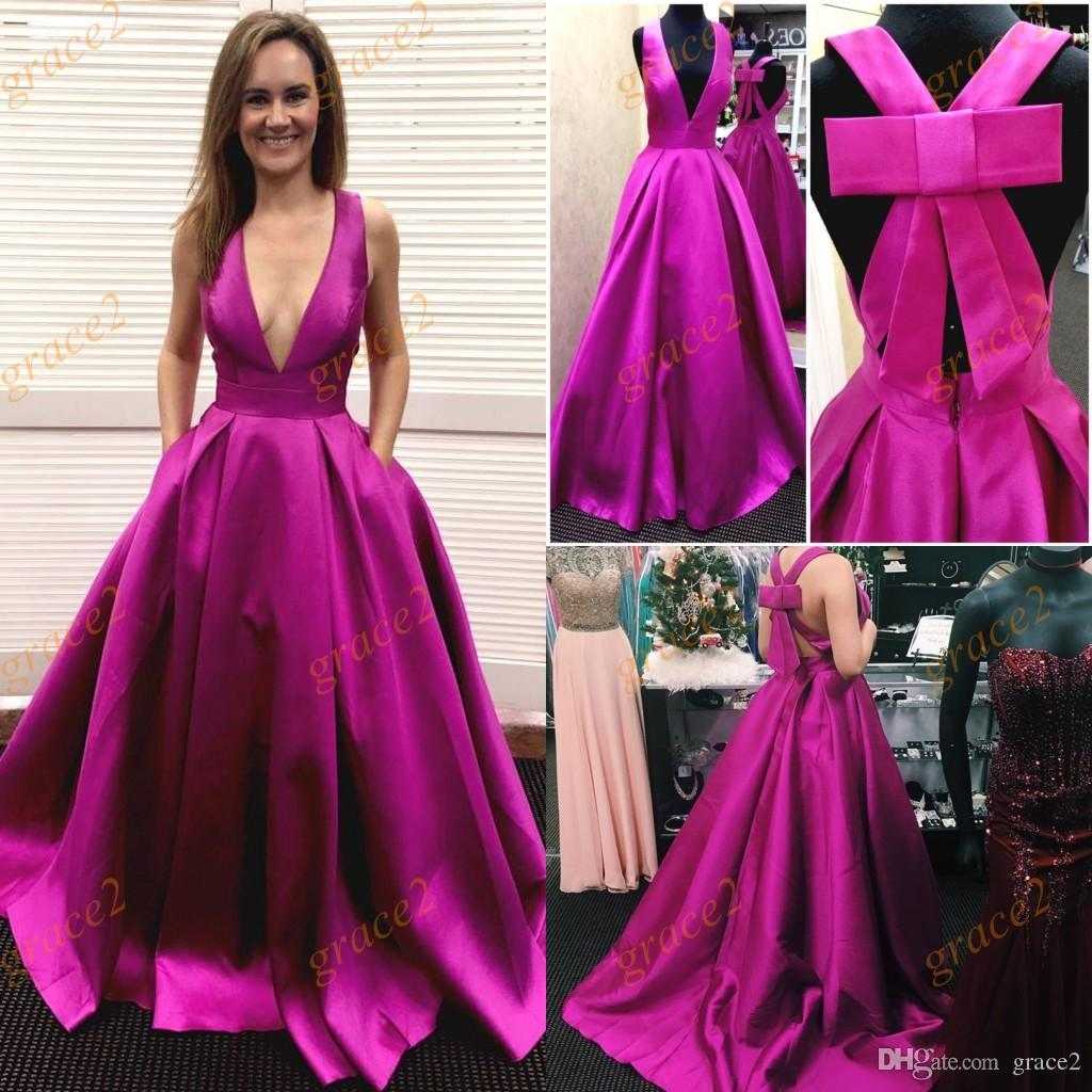 Big Bow Prom Dresses 2017 With Deep V Neck And Criss Cross Straps ...