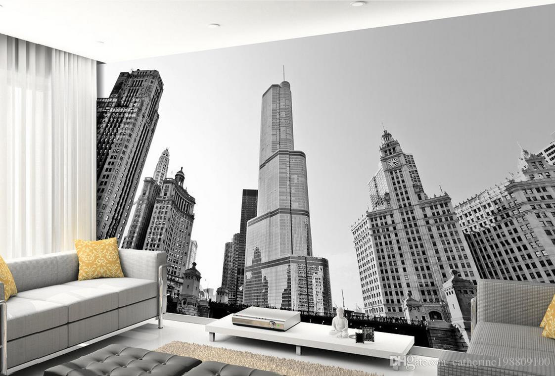 High Quality Customize size Modern Black and white New York skyscraper building TV wall mural 3d wallpaper 3d wall papers for tv backdrop