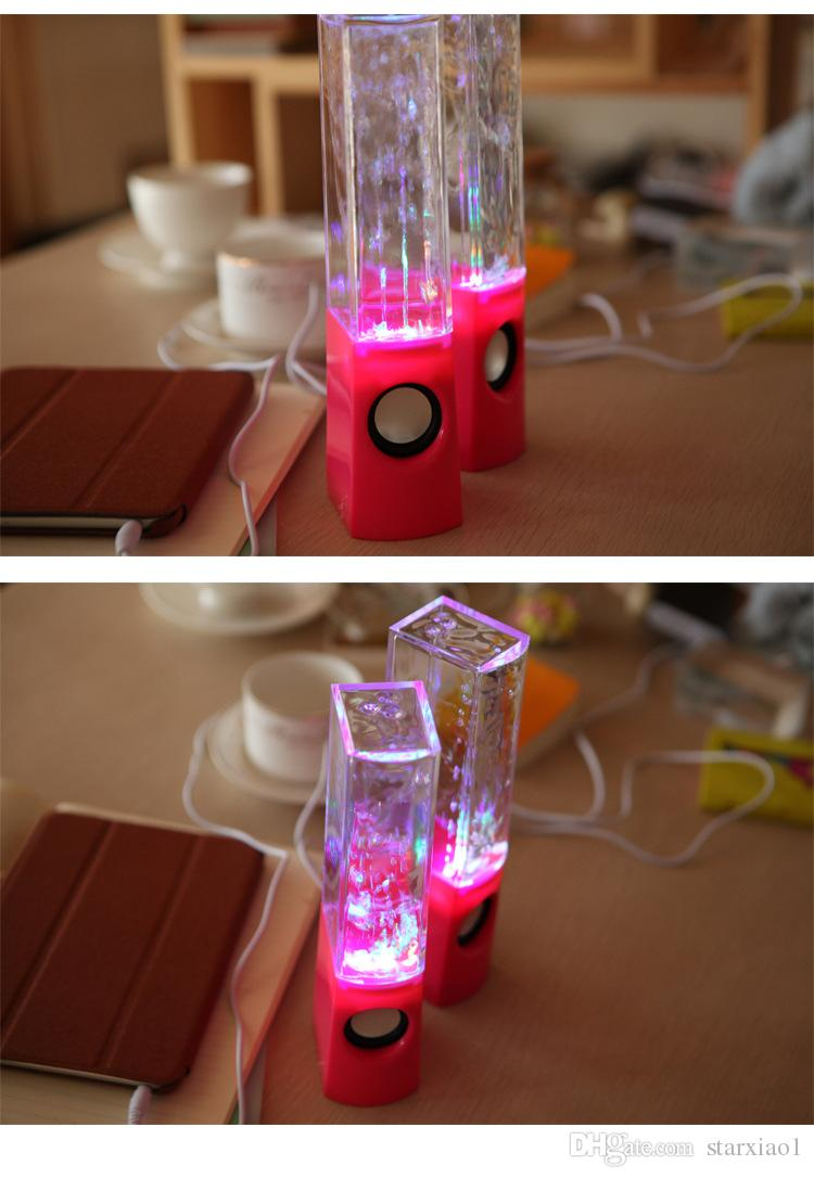 Dancing Water Speaker Music Audio 3.5MM Player for S5 note4 LED 2 in 1 USB mini Colorful Water-drop Show for tablet PSP phone DHL FREE