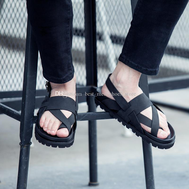 a61810bde3a76 Korean Style Thong Sandals Black Men Slippers Thong Gladiators Rome Beach  Shoes Red Bottom Shoes Cl Mens Casual Shoes Red Bottom Men Fashion Sneakers  Online ...