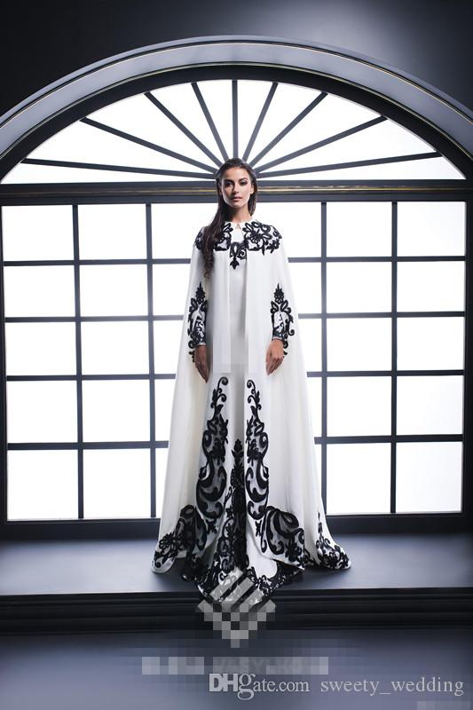 Black and White Arabic Women Formal Evening Dresses with Coat Long Sleeve Mermaid Applique Satin 2017 Plus Size Mother of the Bride Gowns