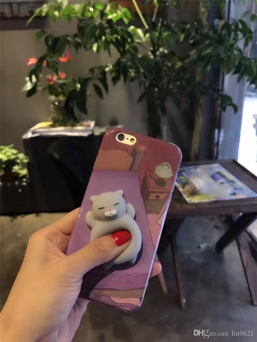 New Products 2017 Unique Cute Animal TPU Squishy 3D Cats Phone Cases For iPhone 6 6 plus 7 7 Plus