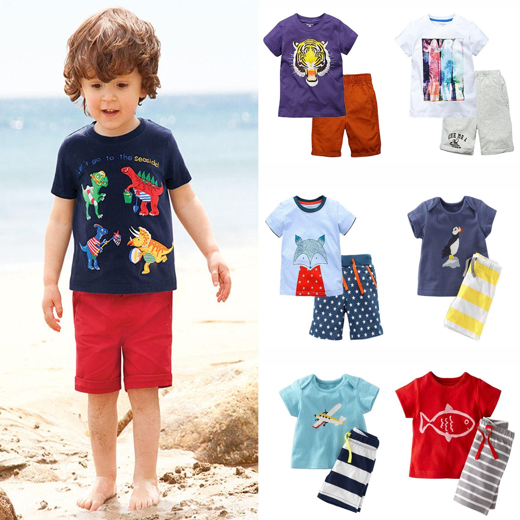 Summer Kids Clothing Sets 100 Cotton Short Sleeve Baby Boy Fox Tops