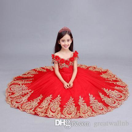 f1cfb1bf1d0 Free Ship Children Girls Red Golden Embroidery Gown Queen Dress Girl  Princess Dress Fairy Dress Gown Party Clothing Themes Group Halloween  Costumes Kids ...
