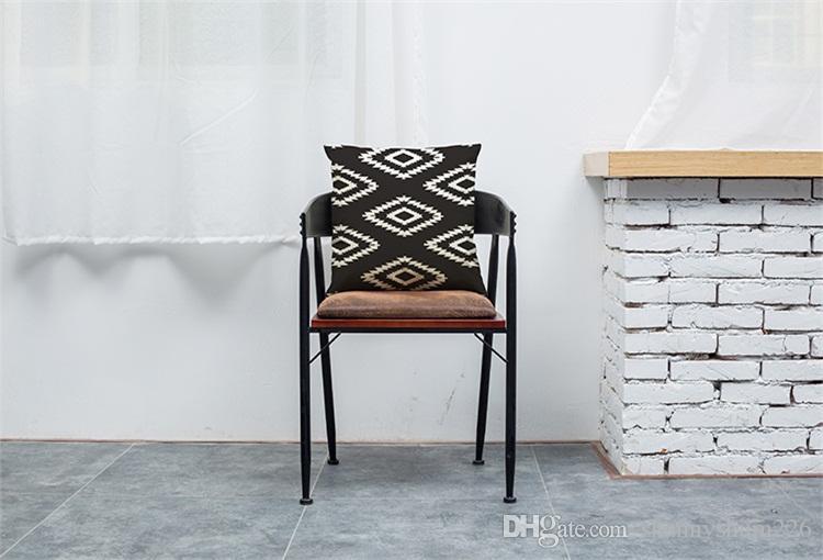 Enrejado blanco y negro Funda de cojín de lino Sofá de oficina en casa Funda de almohada Cojín decorativo Fundas de almohada sin inserción 18 * 18