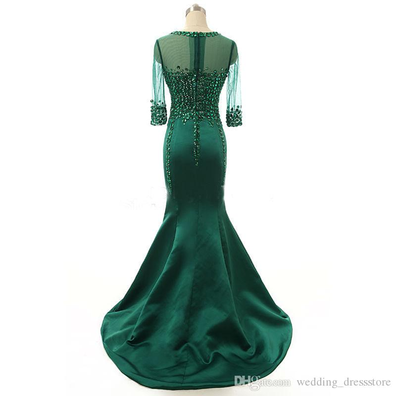 Emerald Evening Dresses 2019 with Beaded vestidos de noiva Scoop Neck Crystal Formal Prom Gowns