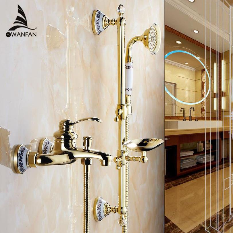 Best Shower Faucets Wall Mounted Bath Shower Sets Bathroom Golden ...