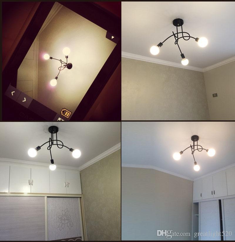 Vintage Lustre Loft Industriel Plafonnier simple Lampe d'intérieur noir / couleur blanche Livraison gratuite