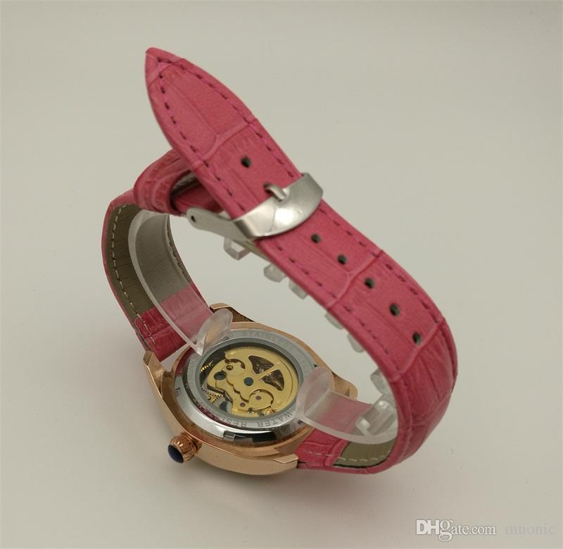 Muonic автоматические механические часы женские кожаные модные полые часы китайский Гуанчжоу бренд дизайн высокое качество движения часы