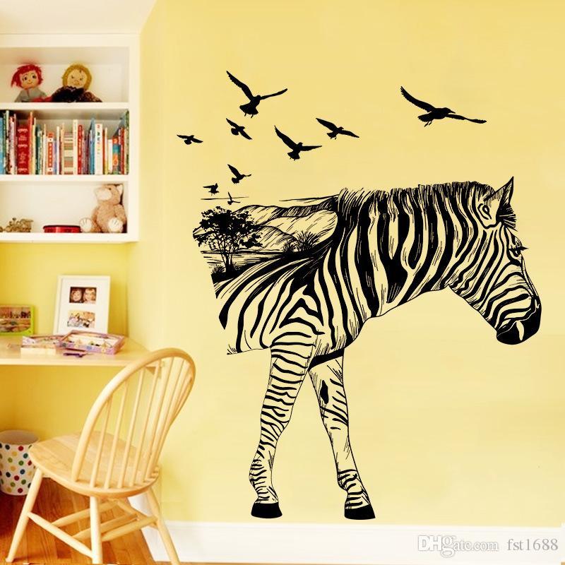 M9271-9277 Zebra Horse Giraffe Deer Elephant Wall Sticker PVC DIY Wall Stickers Abstract Art Animal Cycling Run Mushroom House Tree Decals