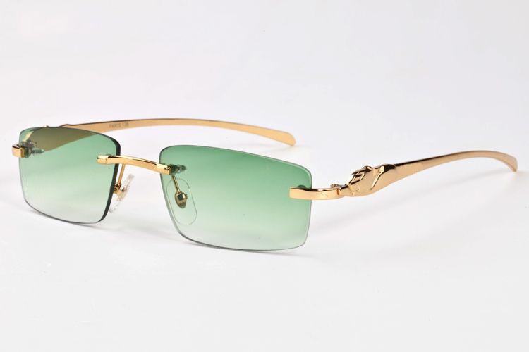 France Marque Buffalo lunettes de soleil hommes plaine miroir lunettes or léopard métal cadre clair lentille optique hommes lunettes de soleil avec boîte d'origine boîte