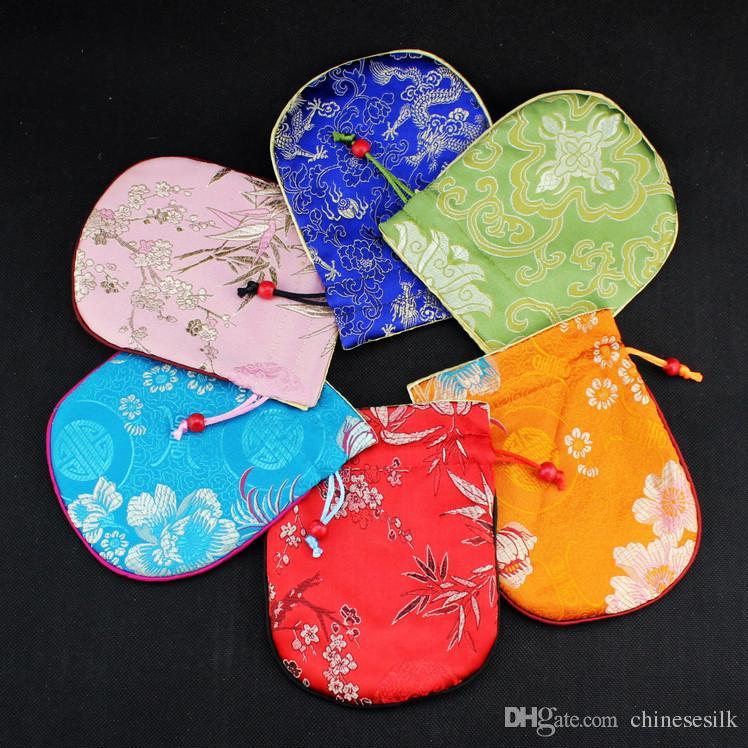 Cotton Filled Thicken Silk Brocade Kleine Pouch Trekkoord Reizen Sieraden Opbergtas Vintage Ambachten Trinket Gift Packaging Tassen 50 stks / partij