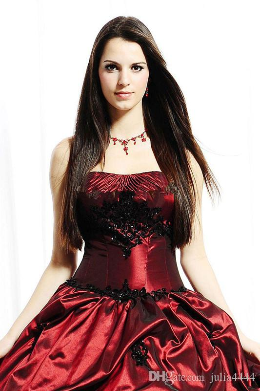 Abito da sposa vintage rosso e nero con giarrettiera corsetto con giacca 2019 Abito da sposa senza spalline modesto blu taffetà con increspature