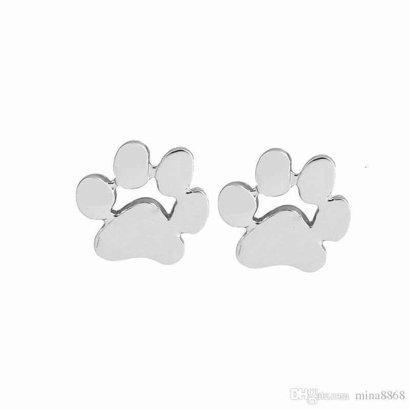 Ventes chaudes Pet Dog Claw Paw Boucles D'oreilles De Mode Mignon Empreinte Animale Boucles D'oreilles Pour Les Femmes Creux Chien Tag Boucles D'oreilles Pour Les Amoureux Des Chiens