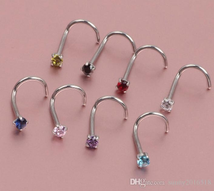 Rock Fashion Stainless Steel Colored Crystal Zircon Nose Studs Hooks Bar Pin Nose Rings Body Piercing Jewelry For Women Party Jewelry