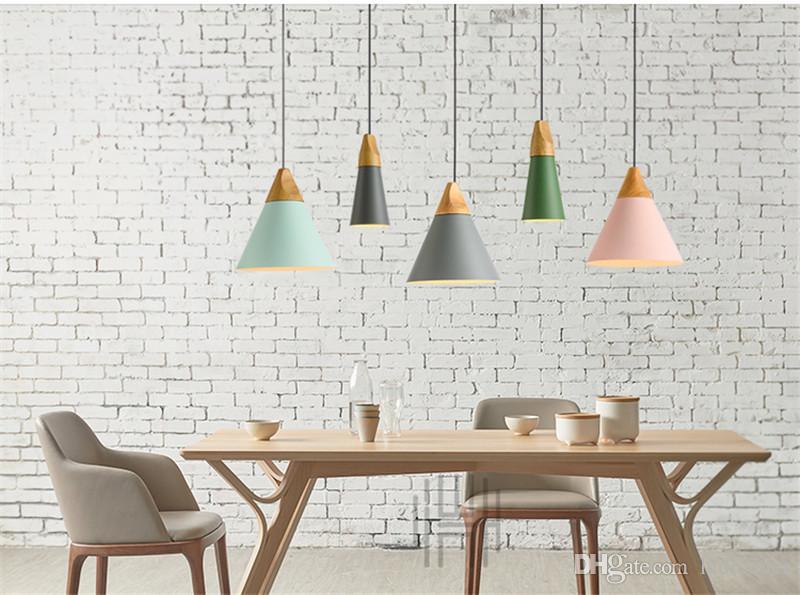 L70 - Lampade a sospensione moderne in legno Lampade a sospensione in alluminio colorato Lamparas Lampade da sala da pranzo Lampade a sospensione illuminazione domestica