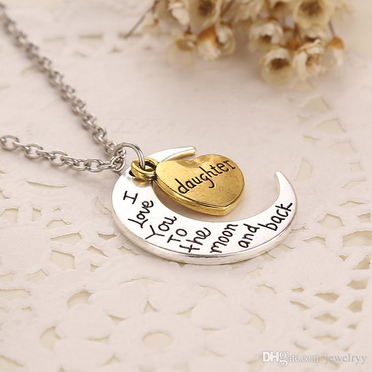 Love Heart Pendant Necklace I Love you to the Moon and Back Chain Necklaces Jewelry for Lover Man and Women Gifts