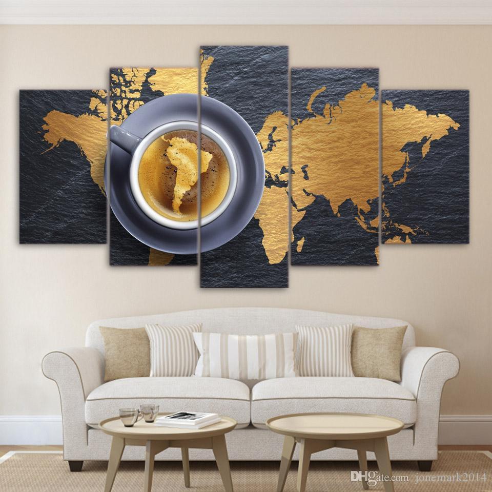 5 шт / Set подставил HD Printed Кофе Карта мира Современный дом декор стены плакат холсте Картина на стене Изображения
