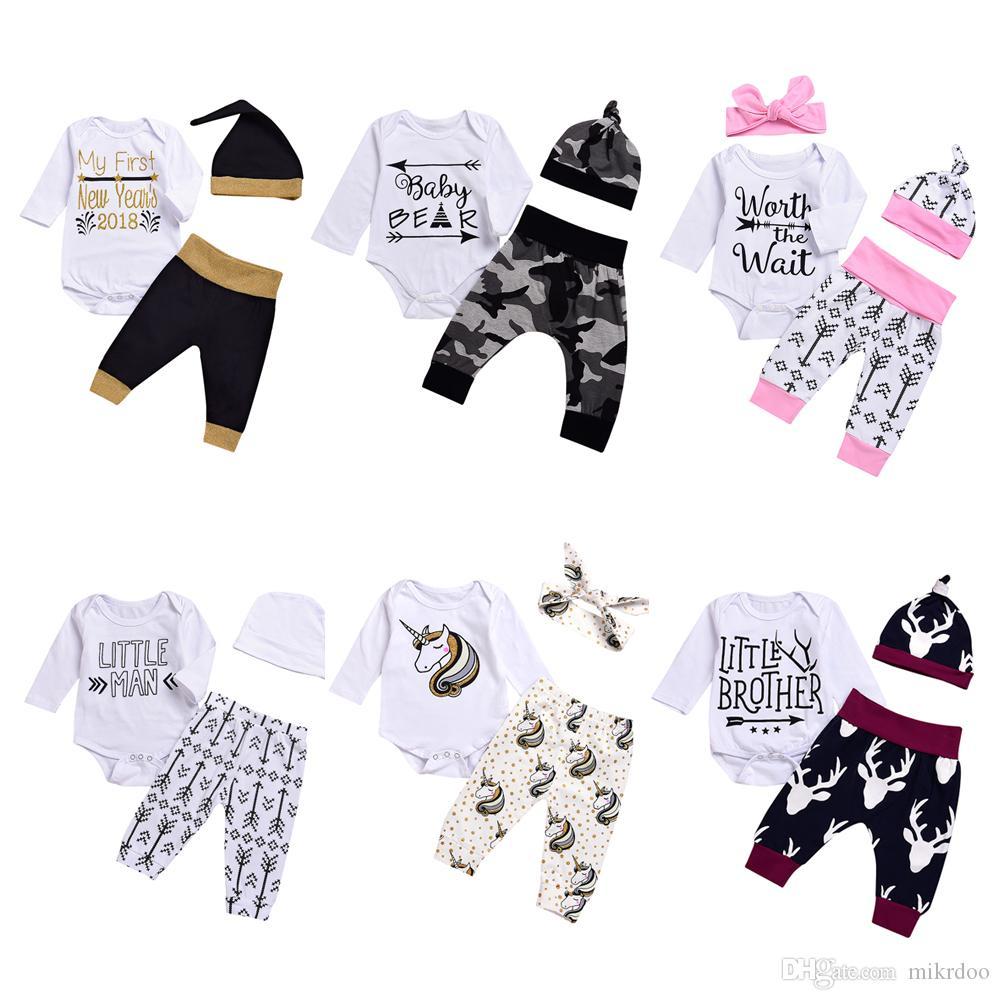 2018 2018 New Baby Boy Girls Christmas Outfit Kids Newborn Arrow ...
