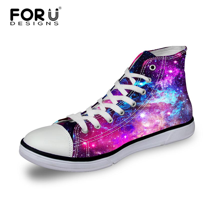 Wholesale FORUDESIGNS Fashion Women Casual Galaxy Shoes Breathable High Top    Low Canvas Shoes 6d49242ab